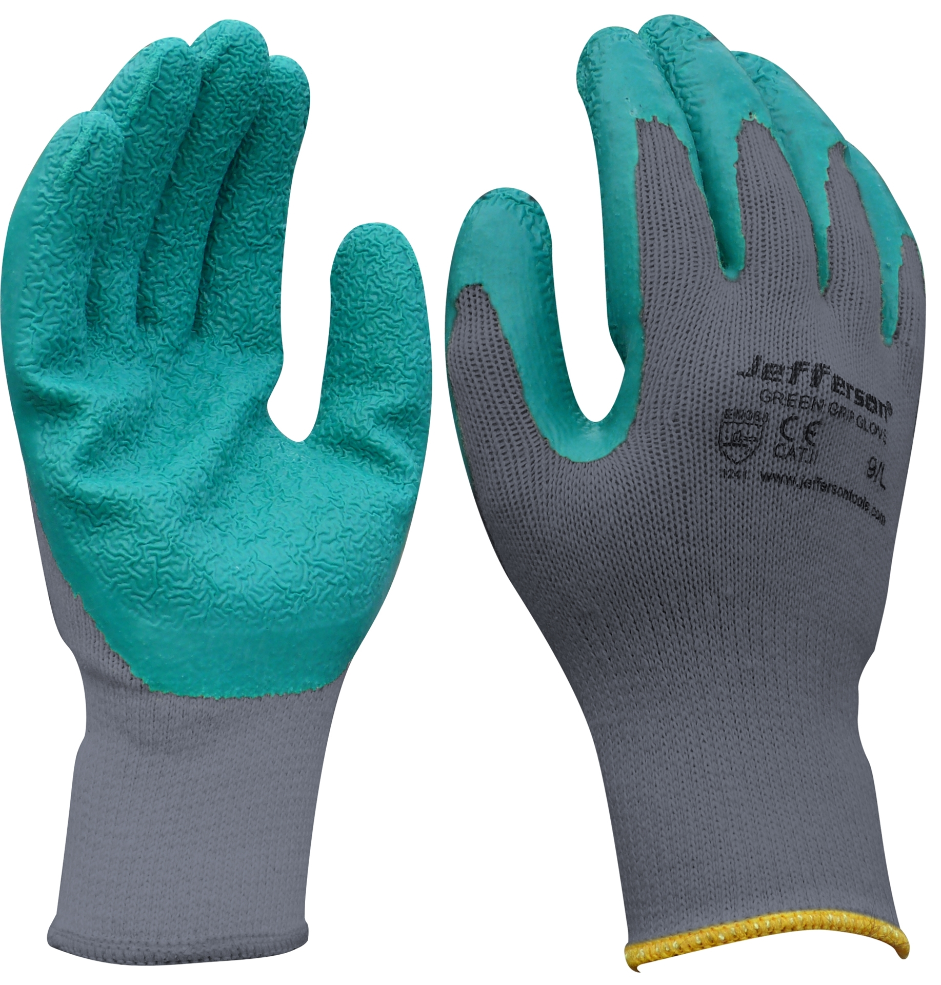 Jefferson - Grey / Green Grip Gloves (12 Pack)