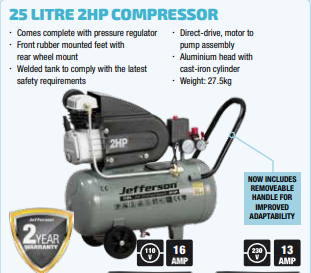 Jefferson 25 Litre 2HP Compressor (JEFC025L08B-230)