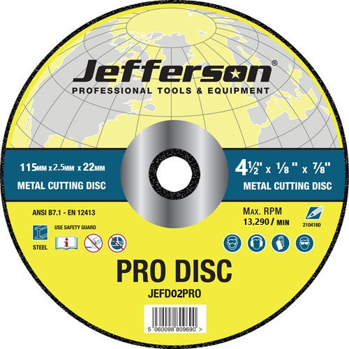 Jefferson 115mm x 2.5mm Metal Cutting Disc - JEFD02PRO