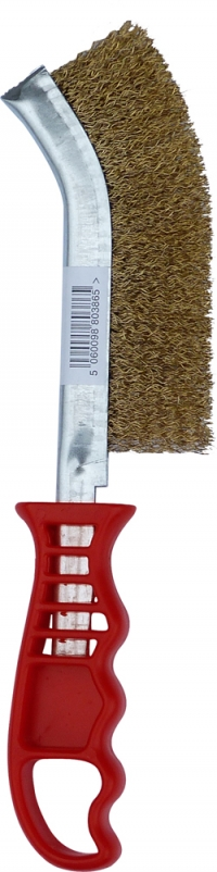 Jefferson - Plastic Handle Brass Coated Wire Brush (Red) - JEFBRPBC03
